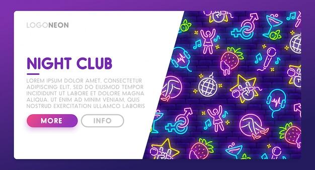 Sinal de néon de boate. página de destino Vetor Premium
