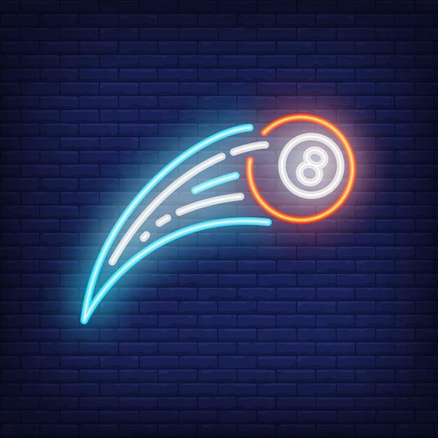 Sinal de néon de bola de bilhar voador Vetor grátis