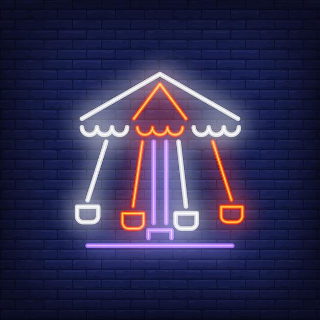 Sinal de néon de carrossel rotativo Vetor grátis
