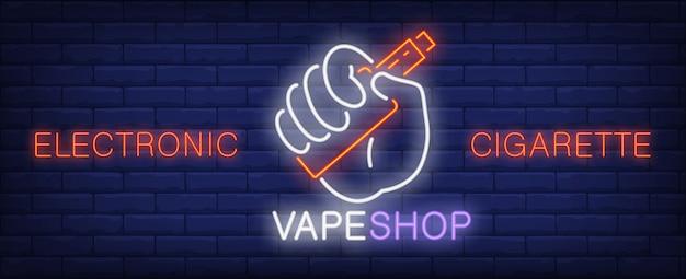 Sinal de néon de cigarro eletrônico. mão segurando o dispositivo vape. Vetor grátis