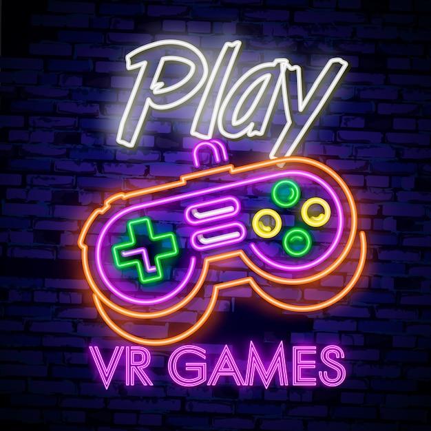 Sinal de néon de coleção de logotipos de jogos de vídeo Vetor Premium