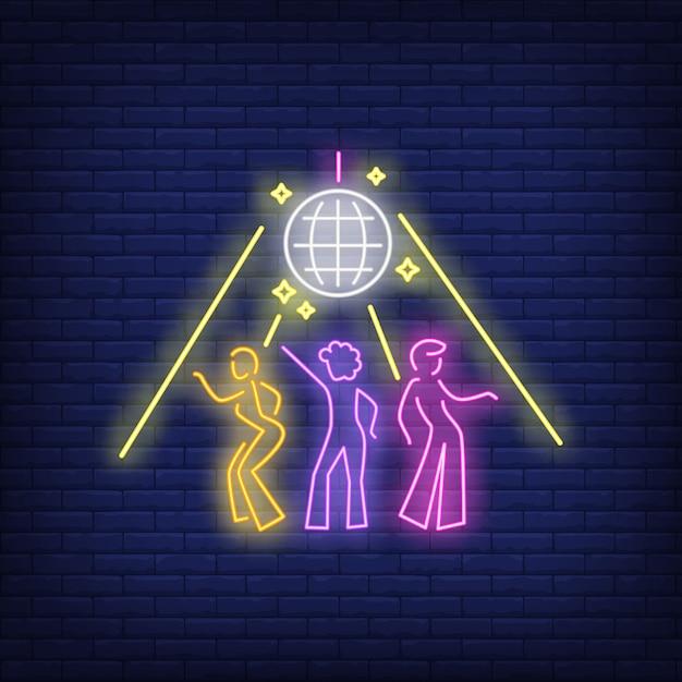 Sinal de néon de discoteca Vetor grátis