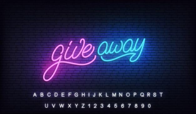 Sinal de néon de doação. design de outdoor de letras brilhantes Vetor Premium