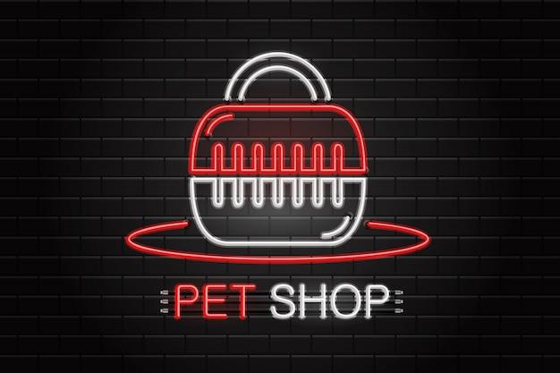 Sinal de néon de equipamentos para animais de estimação para decoração no fundo da parede. logotipo de néon realista para pet shop. conceito de cuidado veterinário e animal. Vetor Premium