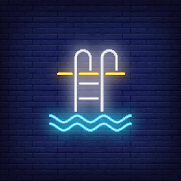 Sinal de néon de escada de piscina Vetor grátis