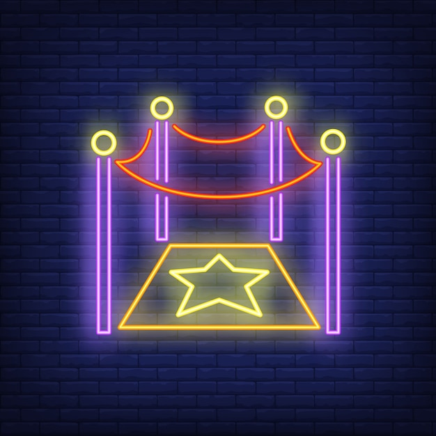 Sinal de néon de estrela de hollywood Vetor grátis