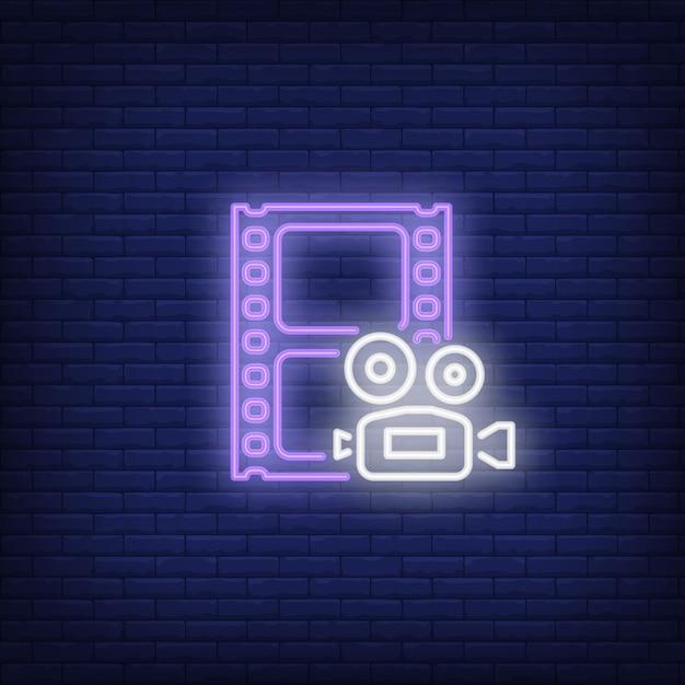 Sinal de néon de filmagem Vetor grátis