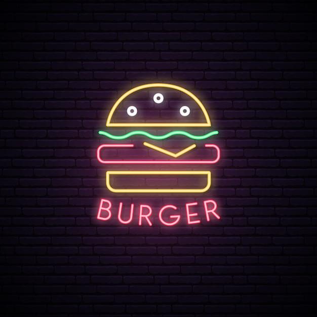 Sinal de néon de hambúrguer. Vetor Premium