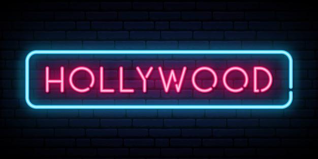 Sinal de néon de hollywood. Vetor Premium