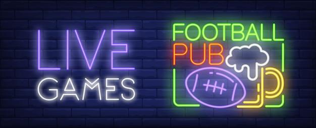 Sinal de néon de jogos ao vivo. esfera do futebol americano e caneca de cerveja. Vetor grátis