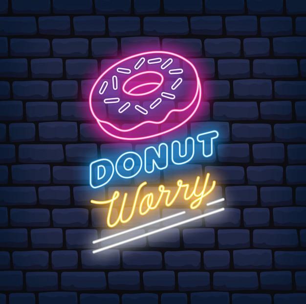 Sinal de néon de loja de donuts Vetor Premium