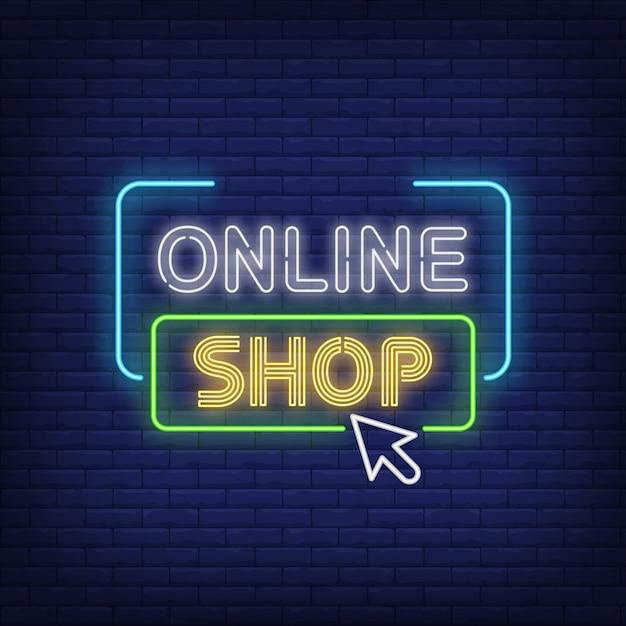 Sinal de néon de loja on-line Vetor grátis