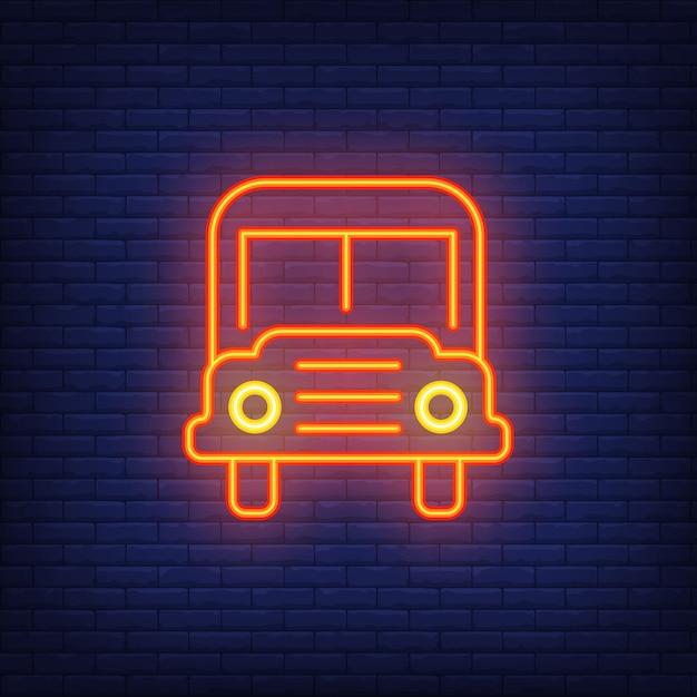 Sinal de néon de ônibus escolar. ônibus escolar alaranjado moderno com faróis. Vetor grátis