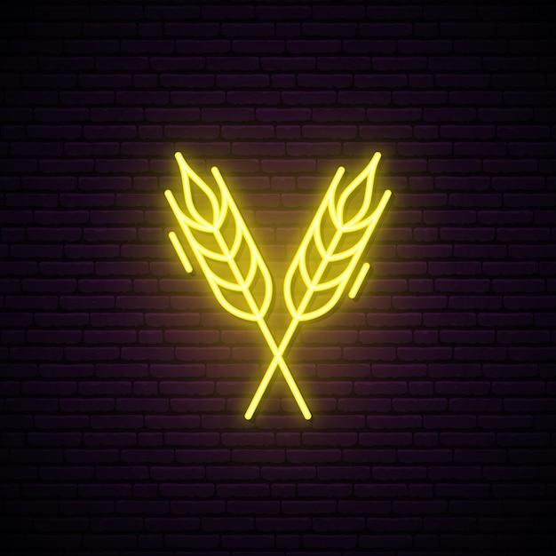 Sinal de néon de picos de trigo. Vetor Premium