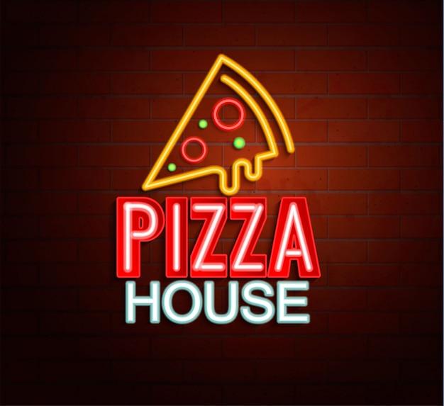 Sinal de néon de pizza house. Vetor Premium