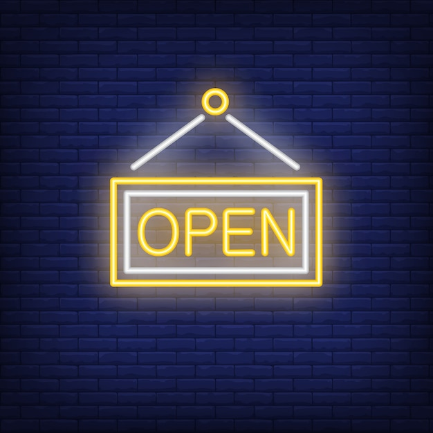 Sinal de néon de porta aberta Vetor grátis