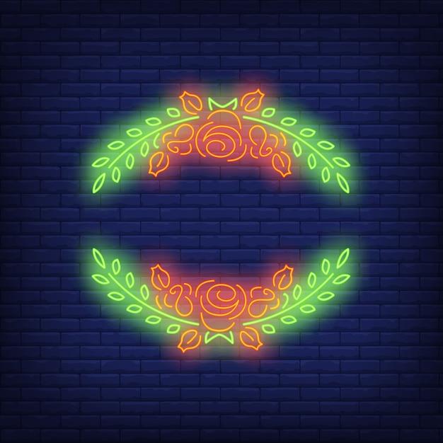 Sinal de néon de quadro de rosas Vetor grátis