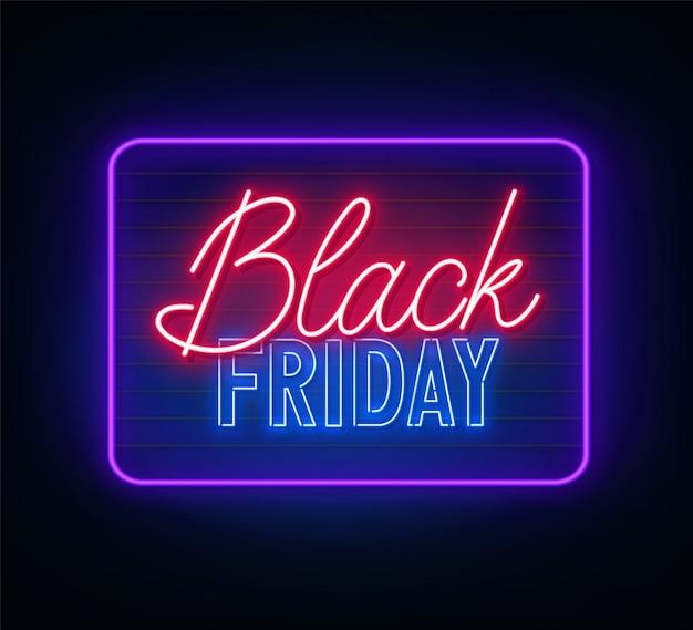 Sinal de néon de sexta-feira negra em fundo escuro. Vetor Premium
