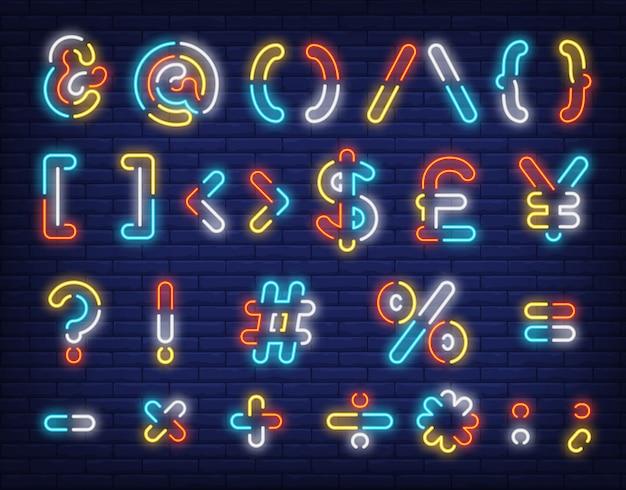 Sinal de néon de símbolos de texto multicolorido Vetor grátis