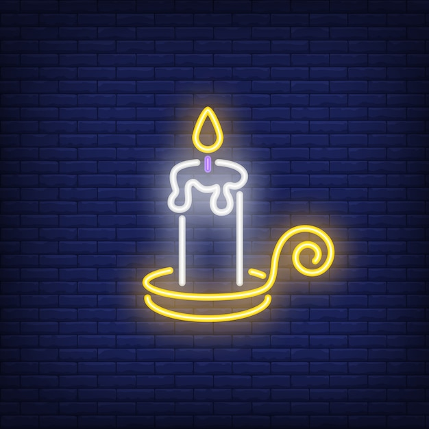 Sinal de néon de vela ardente Vetor grátis
