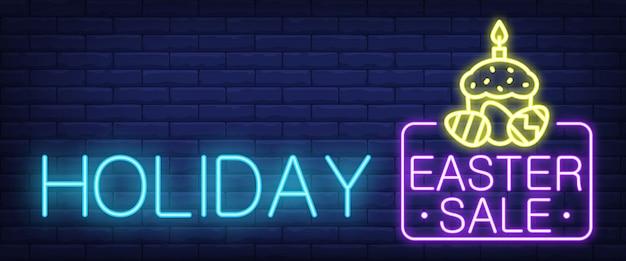 Sinal de néon de venda de páscoa de férias Vetor grátis