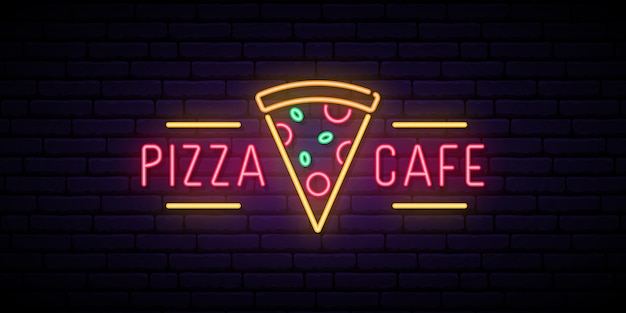 Sinal de néon do café da pizza. Vetor Premium