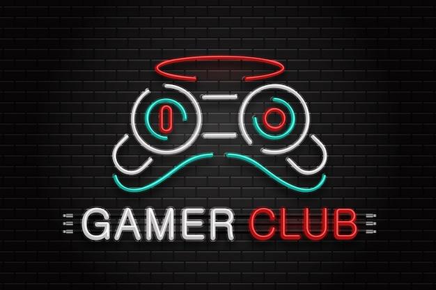 Sinal de néon do controlador para decoração no fundo da parede. logotipo de néon realista para o clube de jogadores. conceito de lazer de jogo e computador. Vetor Premium