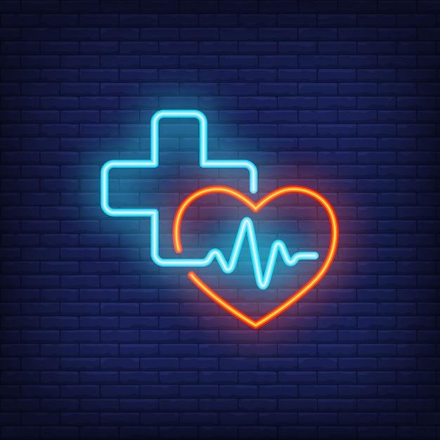 Sinal de néon do coração, da cruz e do cardiogram Vetor grátis