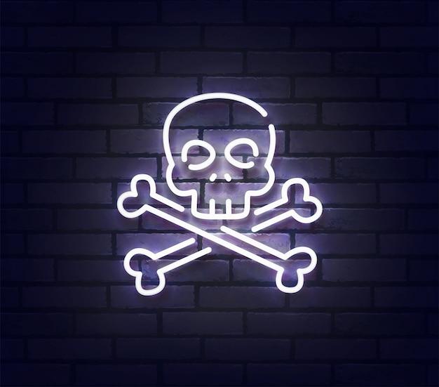 Sinal de néon do crânio. quadro indicador de luz de néon brilhante isolado na parede de tijolos. Vetor Premium