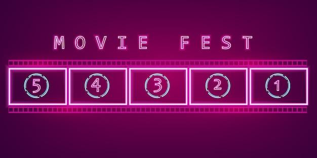 Sinal de néon do filme filme Vetor Premium