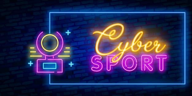 Sinal de néon do jogo, molde do projeto, projeto moderno da tendência, tabuleta da noite, propaganda brilhante da noite, bandeira clara, arte clara. Vetor Premium