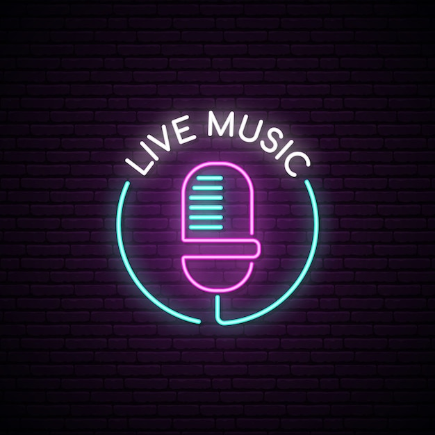 Sinal de néon do microfone. Vetor Premium
