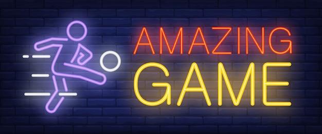Sinal de néon incrível jogo Vetor grátis