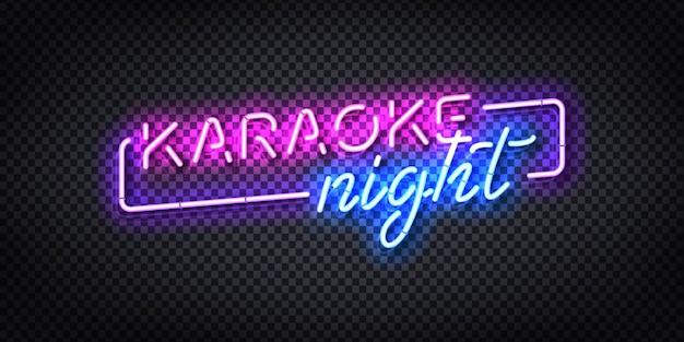 Sinal de néon isolado realista do logotipo da noite de karaokê. Vetor Premium