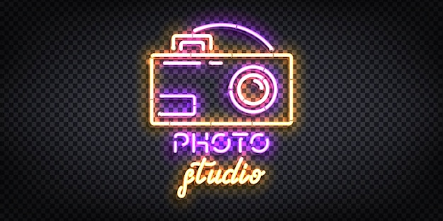 Sinal de néon isolado realista do logotipo do photo studio. Vetor Premium