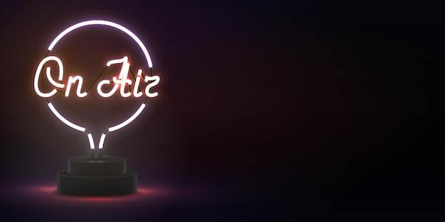 Sinal de néon isolado realista no ar Vetor Premium