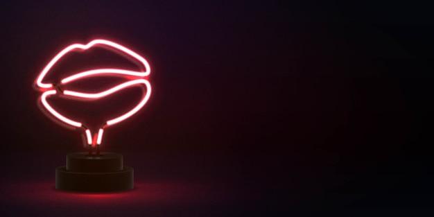Sinal de néon isolado realista Vetor Premium