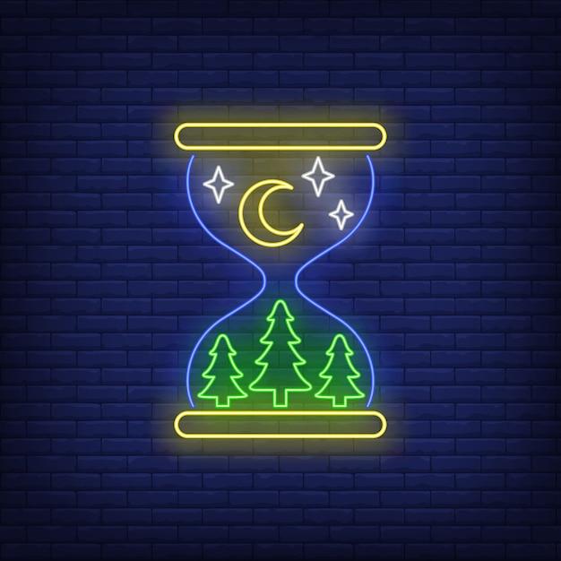 Sinal de néon noturno Vetor grátis