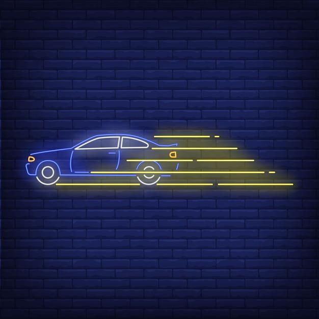 Sinal de néon rápido de condução de carro Vetor grátis