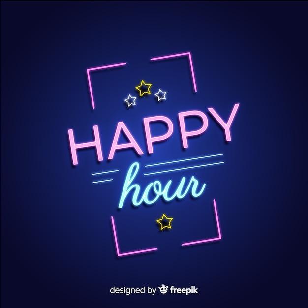 Sinal de néon retangular happy-hour Vetor grátis
