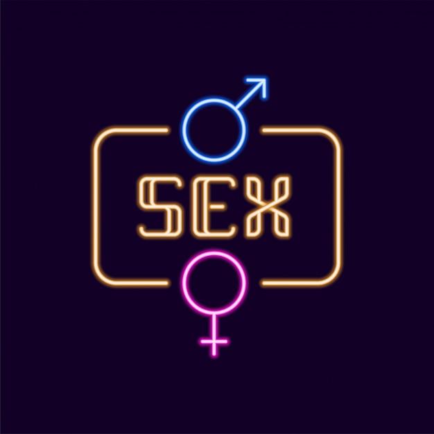 Sinal de néon sexo com ícone de gênero Vetor Premium