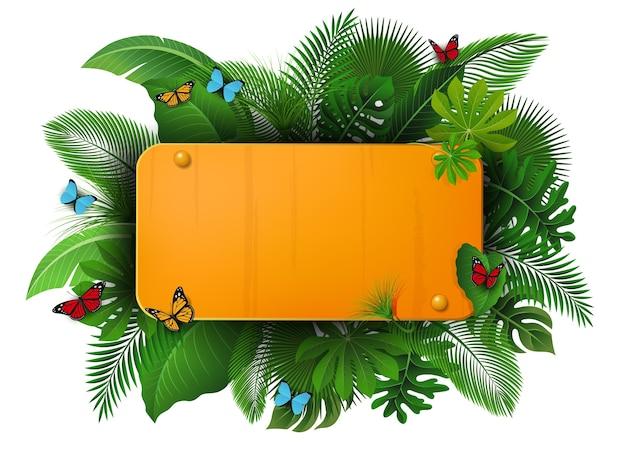 Sinal de ouro com espaço de texto de folhas tropicais e borboletas Vetor Premium
