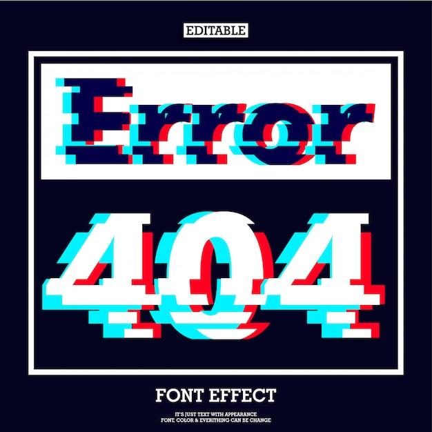 Sinal de página de erro 404 com efeito moderno de falha Vetor Premium