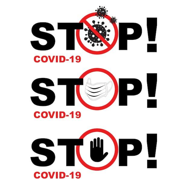 Sinal de parada do coronavírus Vetor grátis