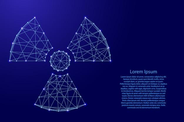 Sinal de perigo de radiação de linhas azuis poligonais futuristas. Vetor Premium