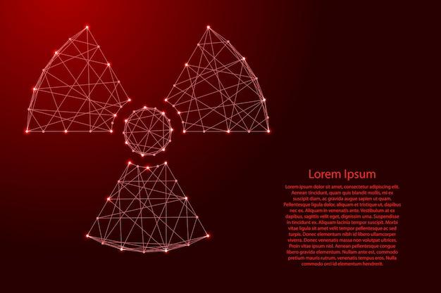 Sinal de perigo de radiação de linhas vermelhas poligonais futuristas. Vetor Premium
