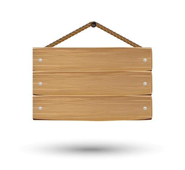 325daccda6034 sinal de placa de madeira de suspensão em um fundo branco Vetor Premium