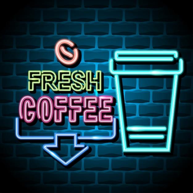 Sinal de publicidade de café fresco Vetor Premium