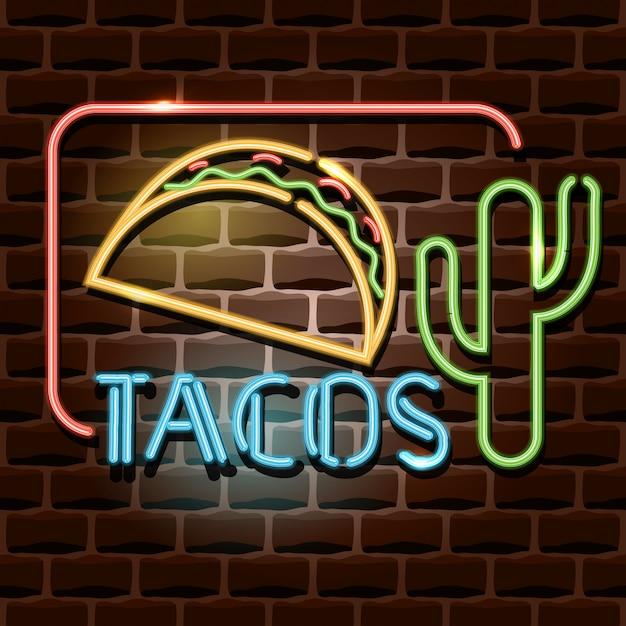 Sinal de publicidade de néon tacos Vetor Premium