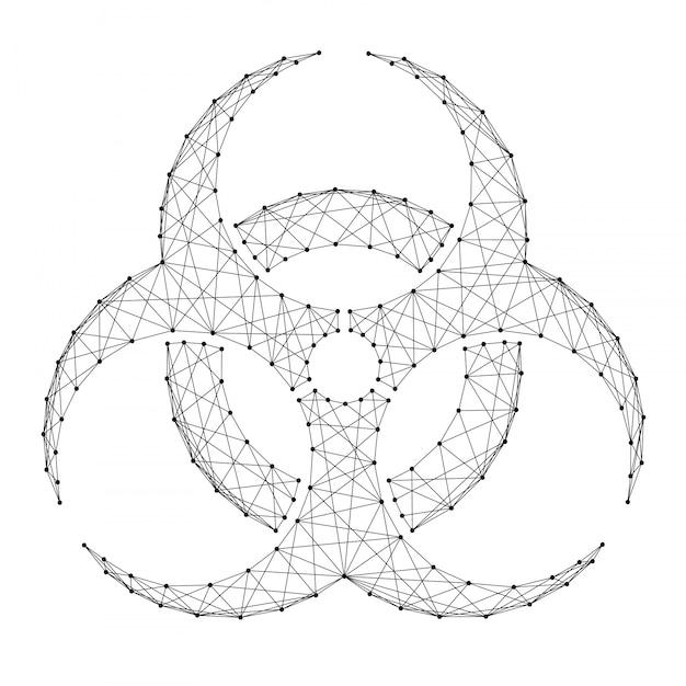 Sinal de risco biológico de abstratas futuristas poligonais linhas e pontos pretos. Vetor Premium